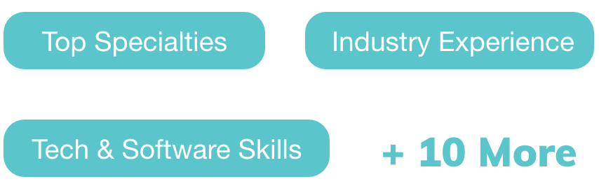 Top Specialties, Industry Experience, Tech & Software Skills, +10 More